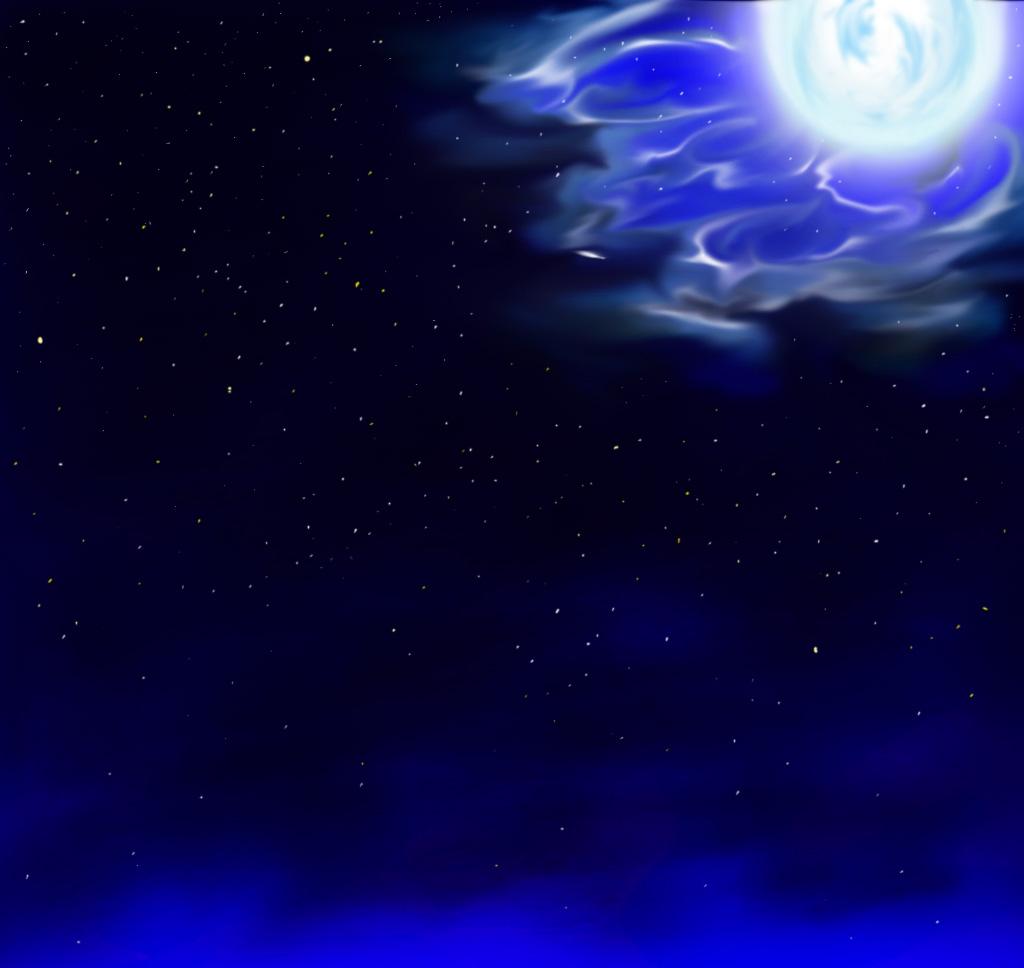 イラスト「夜空 月 星」よしお イラスト無料素材のイラスト屋さん