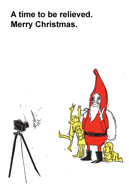 イラスト クリスマス ポストカード サンタクロース 手描き 手書き ラフスケッチ サトウユウ イラスト無料素材のイラスト屋さん イラスト 発注 イラストレーター募集も