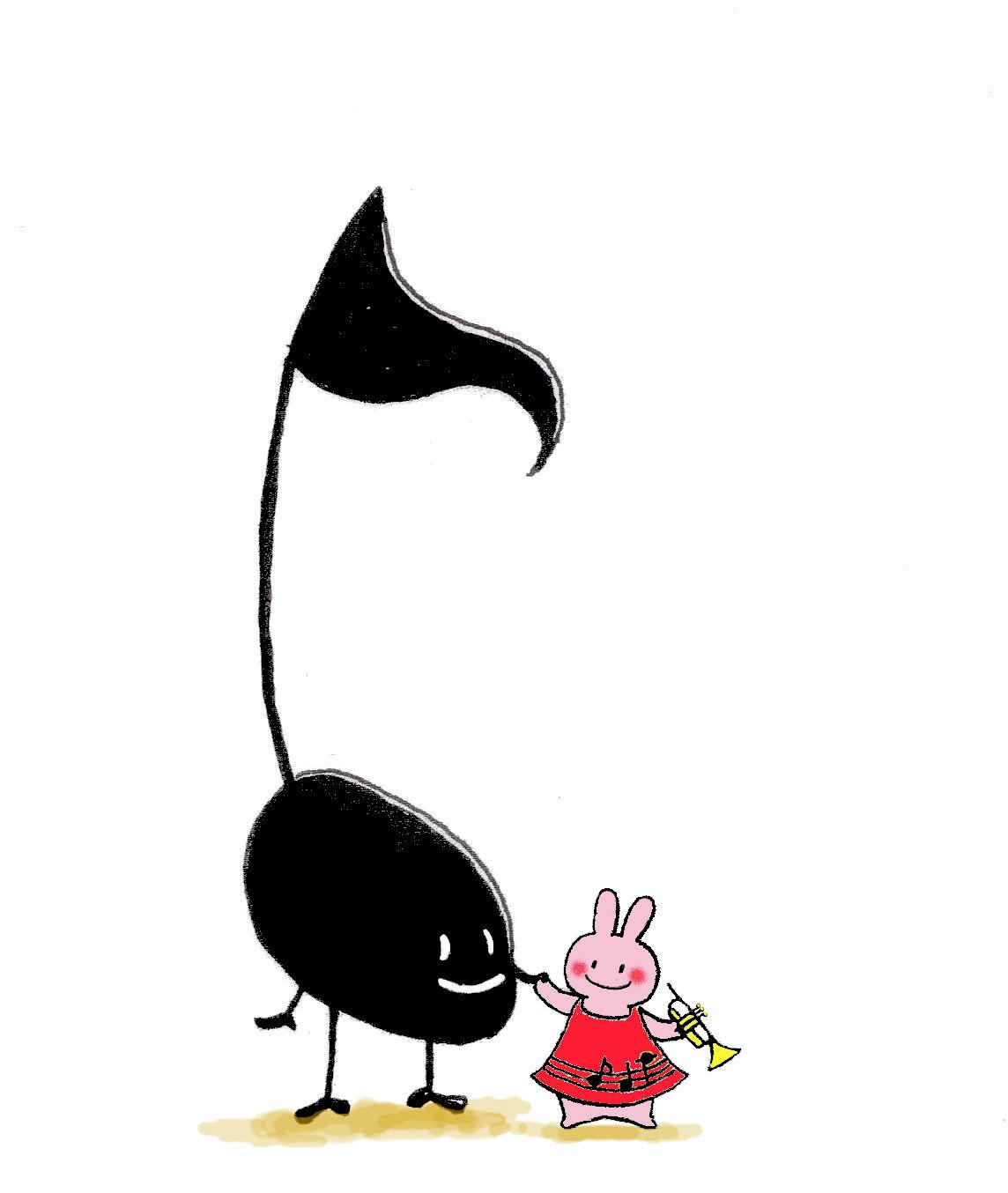 イラスト「うさぎ 音楽 かわいい」みん|イラスト無料素材のイラスト屋